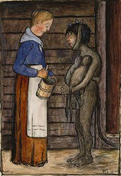 Emäntä ja piruparka kaksosineen | Hugo Simbergin toinen maailma, 1899, Ateneum
