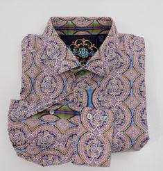 Robert Graham XL Button Down Shirt Floral Kaleidoscope Long Sleeve Silk Trim    eBay