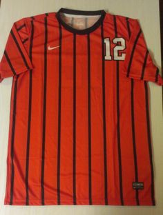 FOOTBALL SOCCER MENS MEDIUM JERSEYSHIRT #12 ORANGE SHORT SLEEVE #Nike #JerseysSHIRT