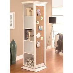 Coaster Furniture 910080 Swivel Storage Cabinet in White with Cork Board