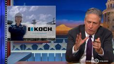 Daily Show/ Jon Stewart:His staff helpfully wrote a new voice-over for their [Koch bros] feel-good spots.
