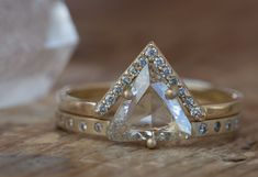 One of a Kind Clear Salt + Pepper Trillion Diamond Ring :: Alexis Russell