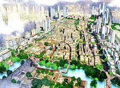 Foshan Donghuali Master Plan, Guangdong, China Skidmore, Owings & Merrill LLP Conceptual Architecture, Interior Architecture, Elevation Drawing, Urban Design Plan, Building Illustration, World Cities, Master Plan, Birds Eye View, Urban Planning