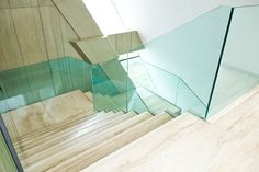 The glass balustrade fits beautifully with light wooden stairs. Its assembly will be possible, among others thanks to our Pimonte fittings or the Trapani system. Handrail Brackets, Aluminium, Marble, Europe, Stone, Beautiful, Design, Home Decor, Glass Balustrade
