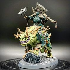 Finished my Nurgle Chaos Lord and his Nurglely Karkadrak! Warhammer Skaven, Warhammer Paint, Warhammer 40k Art, Warhammer Models, Warhammer Fantasy, Fantasy Demon, Fantasy Model, Kharadron Overlords, Chaos Lord