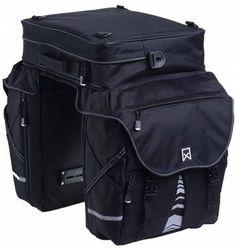 Willex Double Bicycle Panniers Bike Bag With Top Bag XL 1200 65 L Black 13411 for sale online Bag Rack, Bicycle Panniers, Bike Bag, Bike Frame, Canvas Leather, Luggage Bags, Bag Storage, Solid Black, Saddle Bags