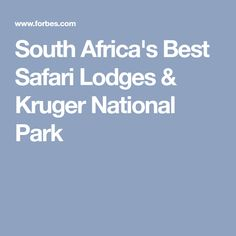 South Africa's Best Safari Lodges & Kruger National Park