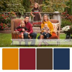 Family outfit Loving this color Palette! Alyssa has a dress that has navy blue and greens and a super cute denim jacket ( she is dying to wear for the shoot ) Fall Family Picture Outfits, Family Pictures What To Wear, Family Portrait Outfits, Family Picture Colors, Summer Family Pictures, Fall Family Portraits, Fall Family Photos, Fall Pictures, Family Outfits