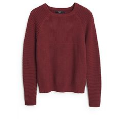 MANGO Ribbed Cotton-Blend Sweater (2,630 INR) ❤ liked on Polyvore featuring tops, sweaters, cableknit sweater, red cable knit sweater, long sleeve cable knit sweater, ribbed top and cable knit sweater