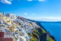 Santorini; Greece; Aegean Sea; Fira town; blue church Santorini Greece, San Francisco Skyline, Most Beautiful, Dolores Park, Paradise, Sea, Island, Blue, Travel