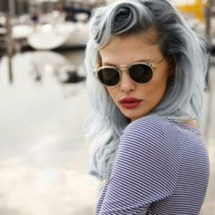 Stripes, red lippy and grey hair can't go wrong