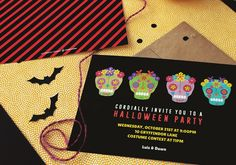 Skull Party Halloween Party Invitations by @oubly