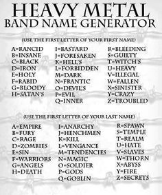 My band is Hell's Warriors.  Fortunately, I already know how to shred righteous drums so hard it will eff your shit up.