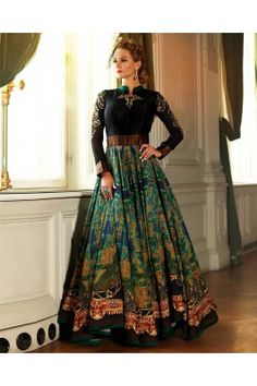 Give yourself a pretty makeover by wearing this black and green embroidered cotton flared gown. Silk Anarkali Suits, Anarkali Dress, Black Anarkali, Long Anarkali, Salwar Suits, Silk Dupatta, Lehenga Choli, Party Wear Dresses, Party Gowns