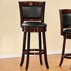 @Overstock - This Verona Cherry Swivel Seat High Counter Pub Chair features a solid wood frame, tapered legs and a 360 degree swivel seat The black faux leather upholstered seat and back contrast nicely with the cherry finish.http://www.overstock.com/Home-Garden/Verona-Cherry-Swivel-Seat-High-Counter-Pub-Chair/4101671/product.html?CID=214117 $98.09