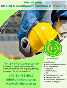 Contact us for all your SHERQ Consultancy; Auditing and Training and many more! Dennis on +27 81 413 5910 or email on info@timsherq.co.za Risk Management, Health And Safety, Training, How To Plan, Work Outs, Excercise, Onderwijs, Race Training, Exercise