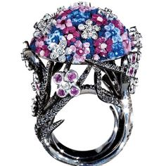 Sicis Bouquet Black White Diamond Micromosaic Gold Ring | From a unique collection of vintage cocktail rings at https://www.1stdibs.com/jewelry/rings/cocktail-rings/