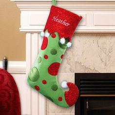 Embroidered Polka Dot Christmas Stocking
