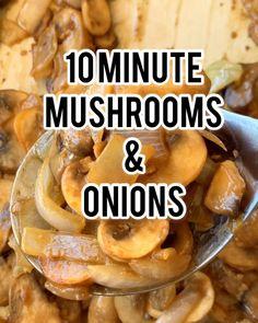 Mushroom Side Dishes, Mushroom Recipes, Vegetable Side Dishes, Vegetable Recipes, Caramelized Onions And Mushrooms, Mushroom And Onions, Best Sauteed Mushrooms, Keto Crockpot Recipes, Cooking Recipes