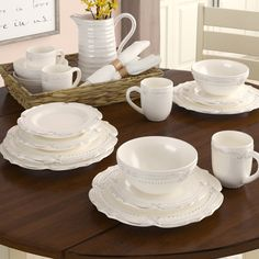 Birch Lane™ Heritage Gelsomina 16 Piece Dinnerware Set, Service for 4 Farmhouse Dinnerware Sets, Square Dinnerware Set, White Dinnerware, Mikasa Dinnerware, Traditional Dining Rooms, Traditional Furniture, Dish Sets, Holiday Dinner, Dinner Plates