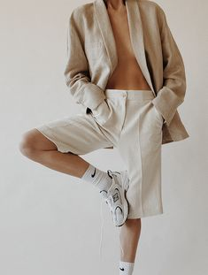 Nehera Linen Blazer, Nehera Linen Shorts , Nike Socks , New Balance 530 Trainers Unisex Clothes, Clothes For Women, Unisex Outfits, Neutral Outfit, Neutral Dress, Neutral Style, Feminine Style, White Dress Summer, Outfit Summer