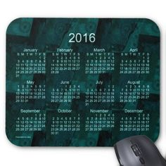 Teal Patchwork 2016 Calendar by Janz Mouse Pad