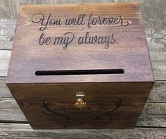 Card box for wedding with slot rustic wedding card box