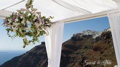 Setting up for Natasha and Andrei's Vintage Lavender Wedding in Santorini Dana Villas, Garnet Wedding, Santorini Wedding, Wedding Details, Wedding Venues, Wedding Flowers, Floral Design, Lavender, Dream Wedding
