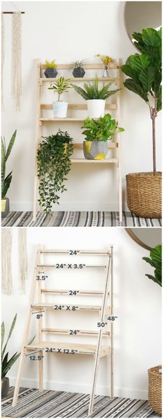 Do you need a place to put your indoor plants? This DIY ladder plant stand is super easy and cute! Find out how to make it with this video tutorial. #indoorplants #plantstand #ladderstand via @asrochester87