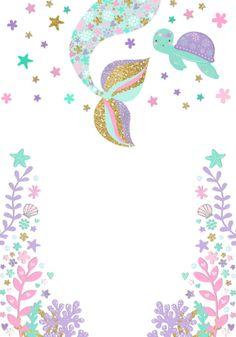 Mermaid Party Baby Shower Invitation, Under The Sea Baby Shower Invitation, Purple Teal Gold Glitter Ocean Starfish Baby Shower Invitation Mermaid Baby Showers, Baby Mermaid, Mermaid Theme Birthday, Girl First Birthday, Happy Birthday, Little Mermaid Parties, The Little Mermaid, Birthday Party Decorations, Birthday Party Invitations