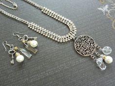 Elegant Necklace  Earrings Set Rhinestones by TheTimelessPeony