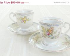 On Sale Antique Noritake Demitasse Tea Cup and Saucer, Set of 2, Vintage, Cottage Style, Victorian, Shabby Chic