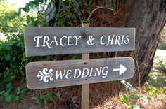 French Country Wedding Signs. His & Her Names. Rustic Wedding Decor.  Shabby Damask DIRECTIONAL Wedding Signs on a Stake