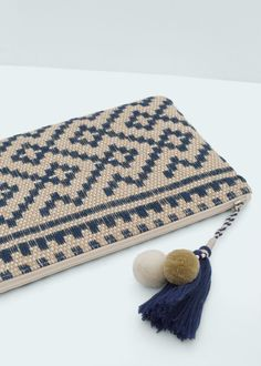 Jute jacquard clutch - Bags for Women | MANGO USA