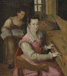 Studio of Lavinia Fontana (Bologna 1552-1614 Rome)  Self-portrait at the keyboard with a maidservant