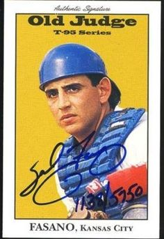 Sal Fasano Royals Signature Rookies 1995 Old Judge Card . $7.00. Kansas City Royals ProspectSal FasanoHand Signed 1995 Authentic SignaturesOld Judge T-95 Card # 12GREAT AUTHENTIC BASEBALL COLLECTIBLE!! .ITEM PICTURED IS ACTUAL ITEM BUYER WILL RECEIVE.