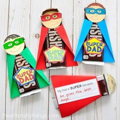 """iheartcraftythingsWe are back with more Superhero fun, this time for Dad! You can download the template on my website for kids to personalize a chocolate bar into their Superhero Dad. So fun huh?!! There's a tag on the back where kids can fill in what makes their Dad extra """"Super"""". Find the craft on my homemade today, or search """"Father's Day Gift"""". Tag me if you end up making these. It always brightens me day!"""
