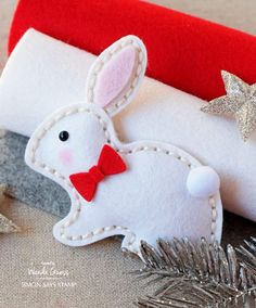 Felt Bunny made with SSS Plush Dies. Wanda Guess for the Simon Says Stamp Blog.