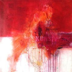 Malerei. Abstrakt. Malerei Mischtechnik, in Rot, Orange und Weiß. 2013 Rita Mester
