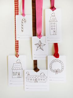 Love these via Little Paper Dog: Free printable holiday gift tags - would be fun for c to color Christmas Gift Tags Printable, Holiday Gift Tags, Free Christmas Printables, Holiday Crafts, Holiday Fun, Printable Tags, Freebies Printable, Free Printables, Printable Party