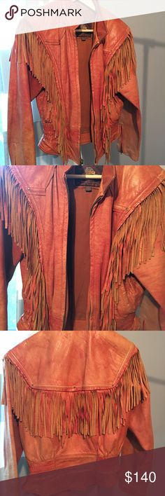 Vintage Adventure Bound by: Wilson Beautiful vintage leather jacket features fringe on both front and back sides ! It is in great distressed pre-loved condition ! Contact me with any questions Adventure Bound Jackets & Coats