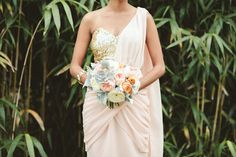 Love this! Sari inspired gown and soft peachy bouquet, photos by Ulmer Studios | junebugweddings.com