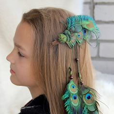 "Long Peacock Feather Hair Extension ""Boho Child"" Green Feather Hair Clip Tribal Feather Hair Extension Boho Peacock Feather Hair Clip by Nastasy on Etsy"