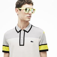 6e24aac24b2f6 Elegant green and yellow men's bar stripe polo. Preppy Men, Preppy Style,  Lacoste