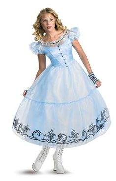 Deluxe costume has dress with petticoat and glovettes. Womans' size 4-6. Boots not included.