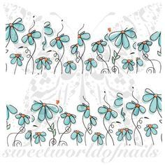 Flower Nail Art Blue Flowers Water Decals Full Wraps