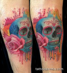 Watercolor Colorful Candy Skull Tattoo