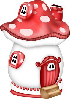 Cute Little Mushroom House Mushroom House, Mushroom Art, Arte Punch, Colorful Pictures, Cute Pictures, Cute Clipart, Fairy Houses, Print And Cut, Fabric Painting