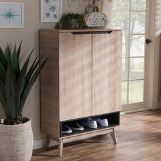 Shoe Cabinet Design, Shoe Storage Cabinet, Shoe Cabinet Entryway, Ikea Storage Cabinets, Small Cabinet, Home Office Organization, Storage Organization, Grey Wood, Storage Spaces
