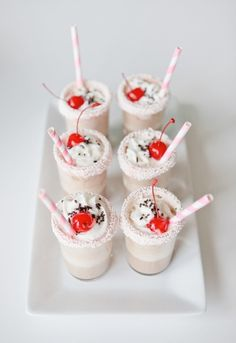 Milkshakes in shot glasses. I love this because i like to try a lot of different things :)